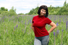 Ragazza in fiori Fotografia Stock