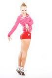 Ragazza Flirtatious nel colore rosa Fotografie Stock