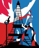 Ragazza francese alla Torre Eiffel royalty illustrazione gratis