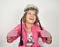 Ragazza Funky con un cappello divertente Fotografia Stock Libera da Diritti