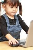 Ragazza giapponese che usando Notebook PC fotografie stock libere da diritti