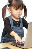 Ragazza giapponese che usando Notebook PC immagini stock libere da diritti