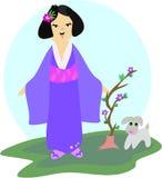 Ragazza giapponese con il cane e la pianta Fotografie Stock