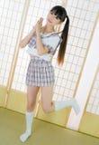 Ragazza giapponese dello studente nella stanza di tatami Fotografia Stock Libera da Diritti