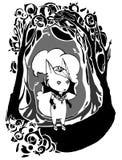 Ragazza gotica del carattere nel telaio triste Immagine Stock