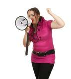 Ragazza grassa con il megafono Immagini Stock