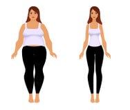 Ragazza grassa e sottile Forma fisica di perdita di peso Fotografie Stock Libere da Diritti
