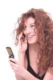 Ragazza graziosa che comunica sul telefono Fotografia Stock Libera da Diritti
