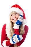 Ragazza graziosa che porta i guanti divertenti Immagine Stock