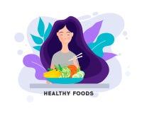 Ragazza graziosa con alimento sano Cibo dell'alimento sano Pranzare, cena o prima colazione della donna illustrazione vettoriale