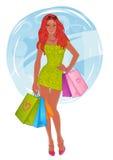 Ragazza graziosa d'acquisto. Illustrazione di vettore. Illustrazione Vettoriale