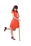 Ragazza graziosa del brunette nel retro dancing del vestito Fotografia Stock Libera da Diritti