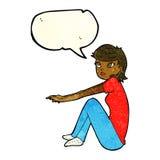 ragazza graziosa del fumetto che si siede con il fumetto Fotografia Stock Libera da Diritti