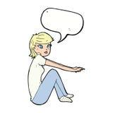 ragazza graziosa del fumetto che si siede con il fumetto Fotografie Stock Libere da Diritti