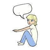 ragazza graziosa del fumetto che si siede con il fumetto Immagine Stock