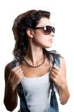 Ragazza graziosa della roccia con capelli magnifici Immagini Stock Libere da Diritti