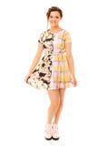 Ragazza graziosa in vestito bilaterale e scarpe rosa Fotografie Stock Libere da Diritti