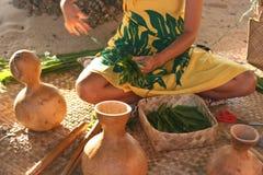 Ragazza hawaiana che fa le bugie Fotografia Stock