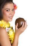 Ragazza hawaiana della noce di cocco Fotografie Stock