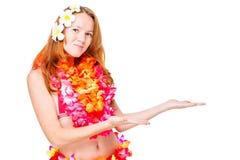 Ragazza hawaiana in vestiti tradizionali e spazio a destra Fotografie Stock