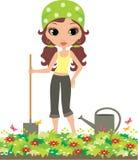 Ragazza il giardiniere su una priorità bassa bianca Fotografie Stock