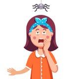 Ragazza impaurita di un ragno che pende dalla cima royalty illustrazione gratis