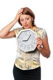 Ragazza impressionabile con l'orologio: Immagine Stock Libera da Diritti