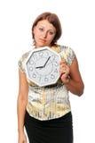 Ragazza impressionabile con l'orologio:   Fotografie Stock Libere da Diritti