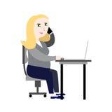 Ragazza incinta nell'illustrazione di vettore dell'ufficio Fotografia Stock Libera da Diritti