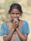 Ragazza indiana del mendicante in Pushkar, India immagine stock libera da diritti