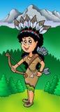 Ragazza indiana dell'nativo americano sul prato Immagini Stock