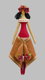 Ragazza isolata FS-fatta a mano della bambola in vestito piega ucraino da stile Fotografia Stock Libera da Diritti