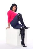 Ragazza in jeans Immagini Stock