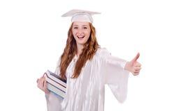 Ragazza laureata con i libri Immagine Stock