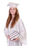 Ragazza laureata con i libri Immagini Stock