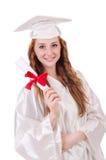 Ragazza laureata con il diploma Fotografie Stock