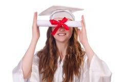 Ragazza laureata con il diploma Fotografia Stock
