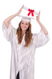Ragazza laureata con il diploma Immagine Stock Libera da Diritti