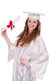Ragazza laureata con il diploma Immagini Stock Libere da Diritti