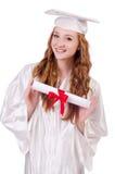 Ragazza laureata con il diploma Immagini Stock
