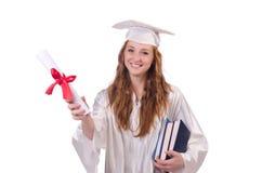 Ragazza laureata con il diploma ed i libri Fotografie Stock Libere da Diritti