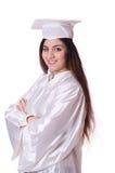 Ragazza laureata con il diploma isolato Fotografia Stock