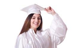 Ragazza laureata con il diploma isolato Immagine Stock Libera da Diritti