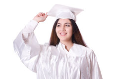 Ragazza laureata con il diploma isolato Fotografie Stock