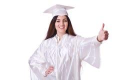Ragazza laureata con il diploma isolato Fotografie Stock Libere da Diritti