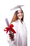 Ragazza laureata con il diploma isolato Immagini Stock Libere da Diritti