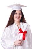 Ragazza laureata con il diploma isolato Immagine Stock
