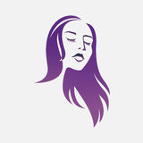 Ragazza Logo Beautiful Woman Silhouette Vettore Illustrazione di Stock