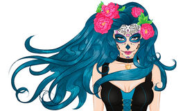Ragazza lunga dei capelli di trucco di Sugar Skull del messicano Immagine Stock