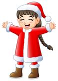 Ragazza lunga sveglia dei capelli che porta il costume del Babbo Natale Immagini Stock Libere da Diritti
